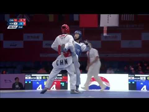Wuxi 2018 World Taekwondo Grand Slam -68kg QF Shuai ZHAO[CHN] vs Seok Bae KIM[KOR]