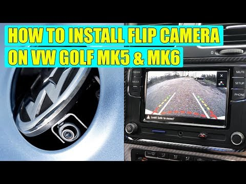 How to install flip emblem (badge) rear view camera for VW Golf Mk5, Mk6, Jetta in 27 steps