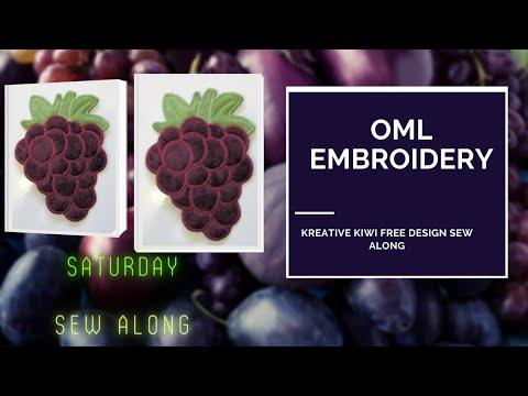 OML EMBROIDERY Kreative Kiwi ITH Grapes Coaster (FREE)