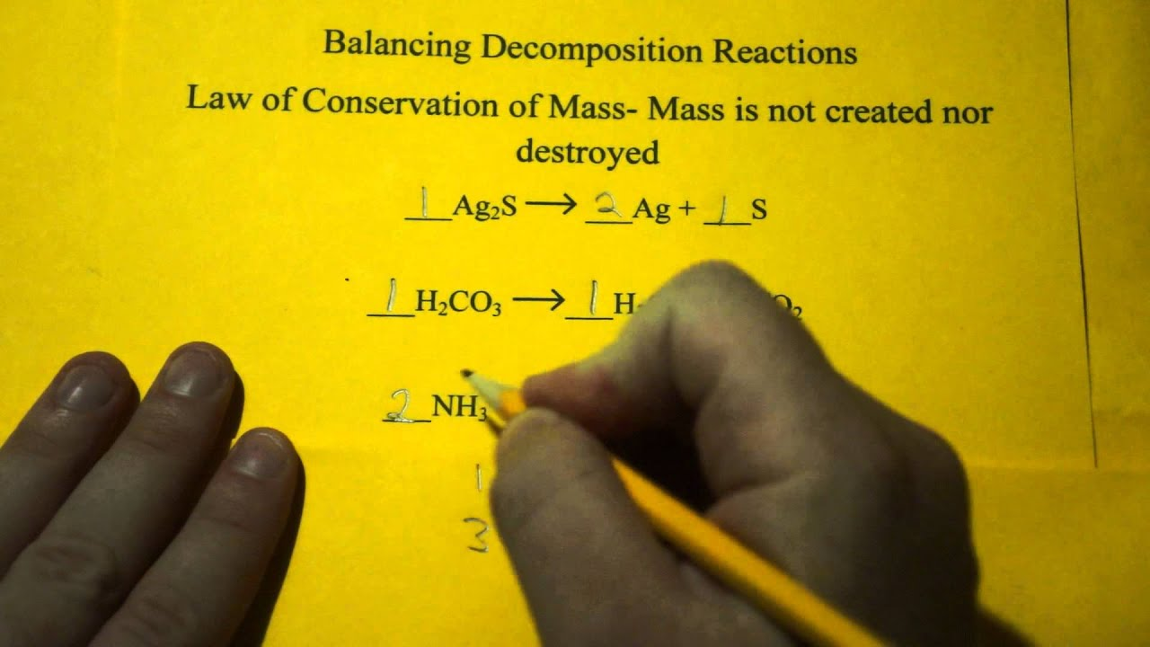 Balancing Chemical Equations Decomposition Reactions YouTube – Decomposition Reactions Worksheet