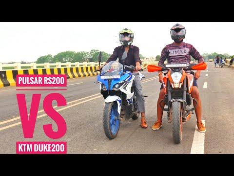 BAJAJ Pulsar RS200 VS KTM DUKE200 | Drag Race and exhaust note |walkaround..