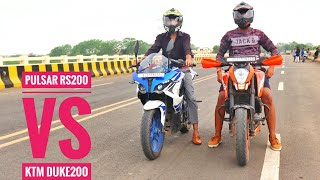 BAJAJ Pulsar RS200 VS KTM DUKE200 | Drag Race and exhaust note |walkaround..