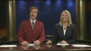 Will Ferrell as Anchor Man Ron Burgundy Co-Hosts Real News Cast!