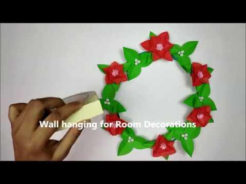 DIY Paper Flower Wall Hanging|Room Decor ideas| Wall Decoration DIY | Wall hanging craft idea