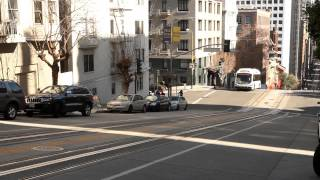 Proterra EV Bus travels Steep Grade on California Street