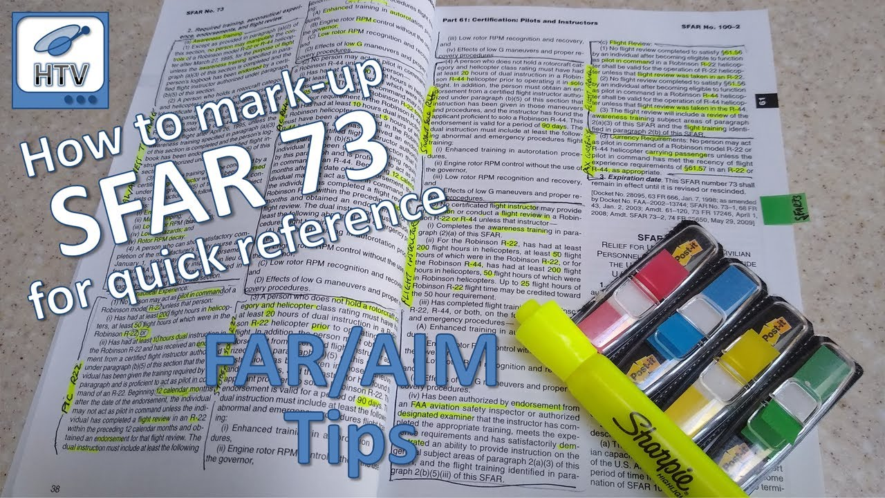 How to mark-up SFAR 73 in the FAR/AIM for quick reference - FAR/AIM Tips