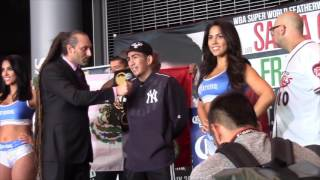 LEO SANTA CRUZ REACTS TO WEIGH IN WITH CARL FRAMPTON / FRAMPTON v SANTA CRUZ