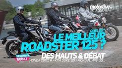 HONDA CB125R vs KTM DUKE 125 vs MONDIAL HPS 125   COMPARATIF 125