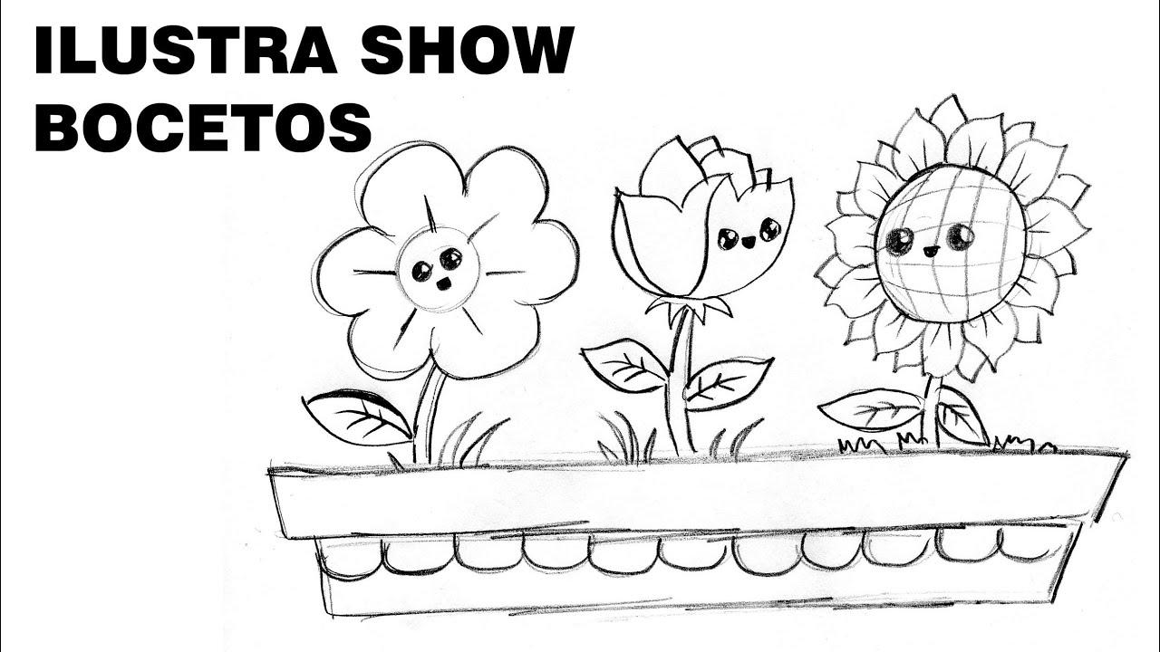 C mo dibujar flores y plantas kawaii sencillos tutorial for Plantas para dibujar