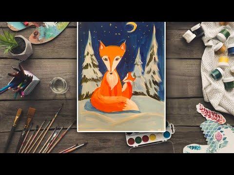 Рисуем лису и лисенка гуашью! Яркий и красивый видео-урок для вас и ваших деток!