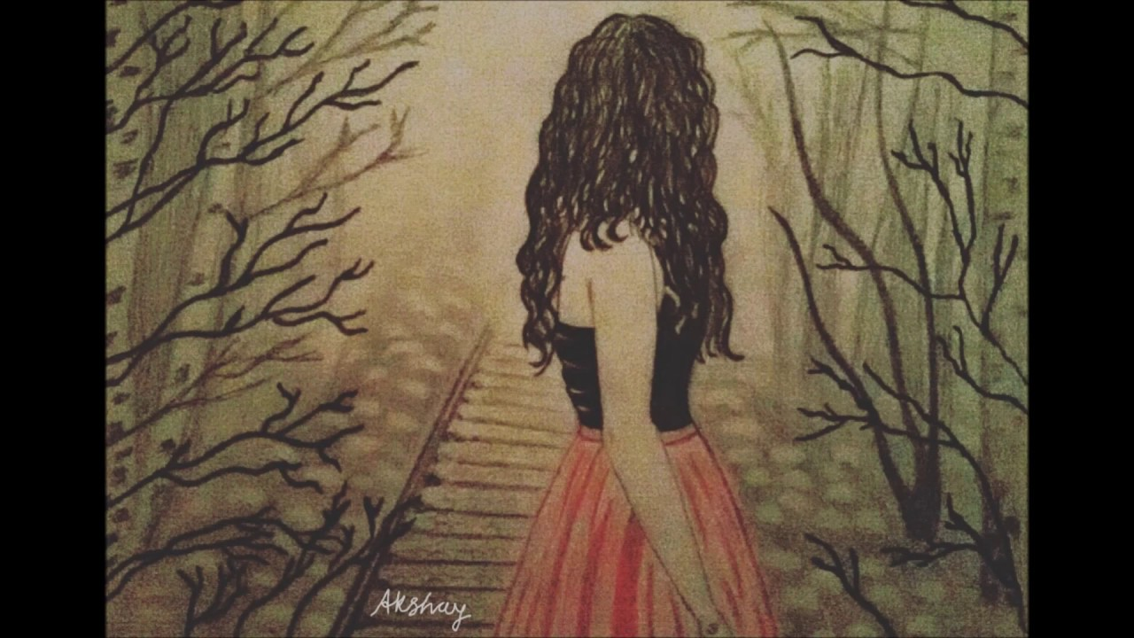 Drawing of alone girl