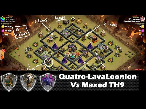 Quatro LavaLoonion vs Maxed Defenses TH9, fail fix | Lava Hound Strategy | Clash Of Clans HD