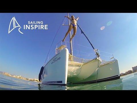 Anchoring a Lagoon 420 and we head up the mainsail - Sailing Inspire Ep 2
