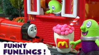 Thomas and Friends Toy Trains visit the McDonalds Drive Thru run by the funny Funlings TT4U