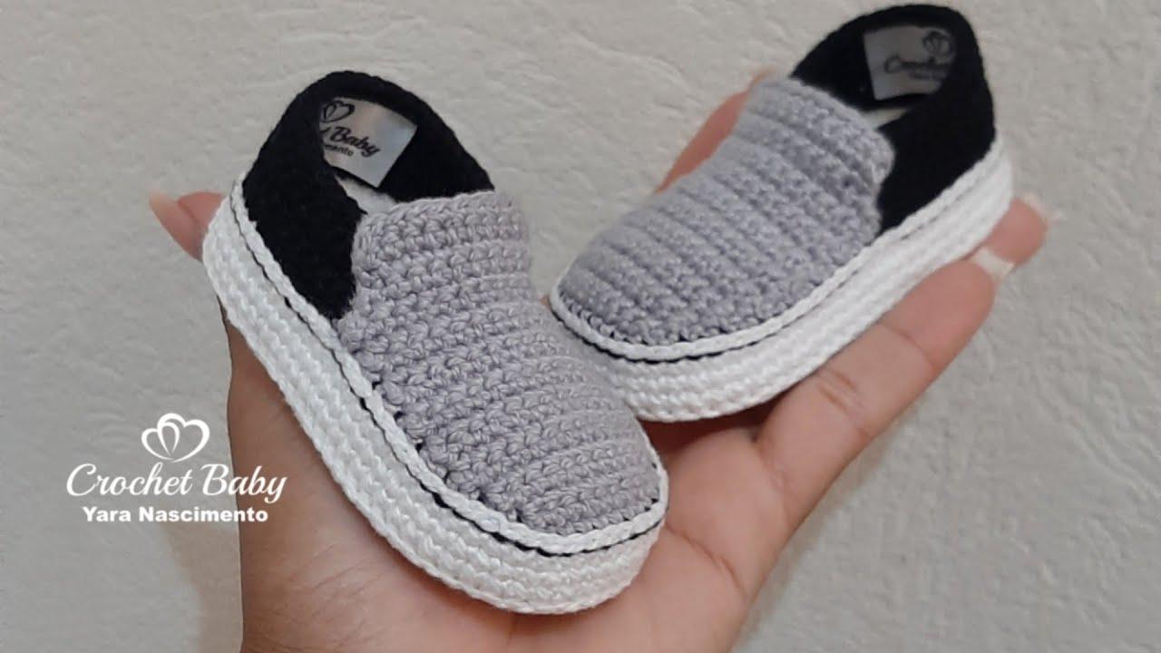 40241f3cf4 Tênis VANS SLIP de Crochê - Tamanho 09 cm - Crochet Baby Yara ...
