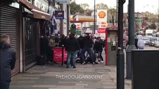Crystal Palace and Tottenham Hooligans clash ( FIGHT ) -