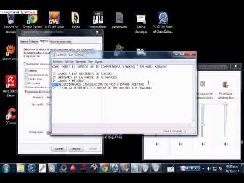 sonido modo karaoke Windows 7