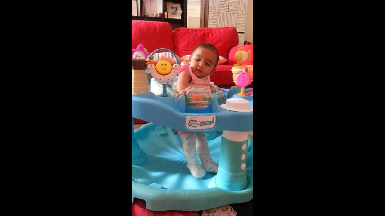 7c240c076d74 6 months baby girl playing with evenflo exersaucer - YouTube
