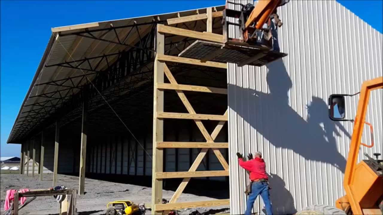 How To Run Metal Siding On A Pole Barn Youtube