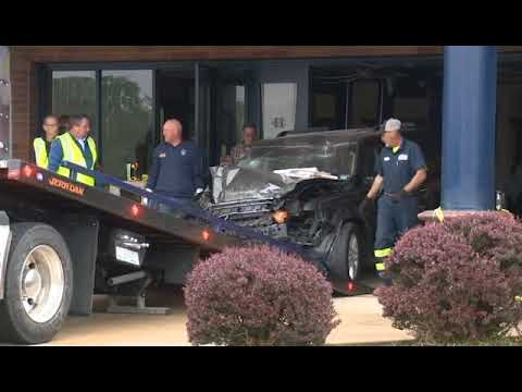 Car being pulled out of Francis Howell Central High School