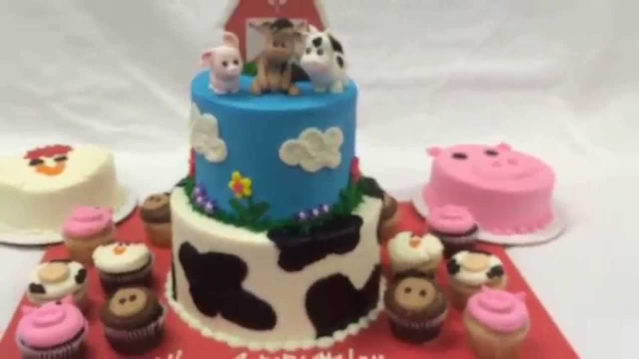 Farm Animals 1st Birthday Themed Cake And Cupcakes Youtube