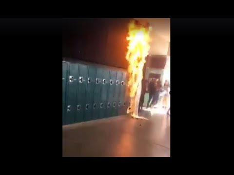Student sets paper sign on fire at Coronado High School in Henderson