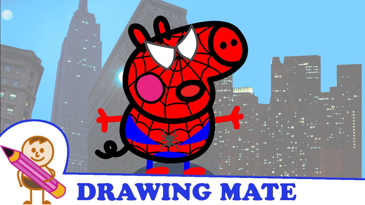 Peppa Pig Spiderman Colouring Pages