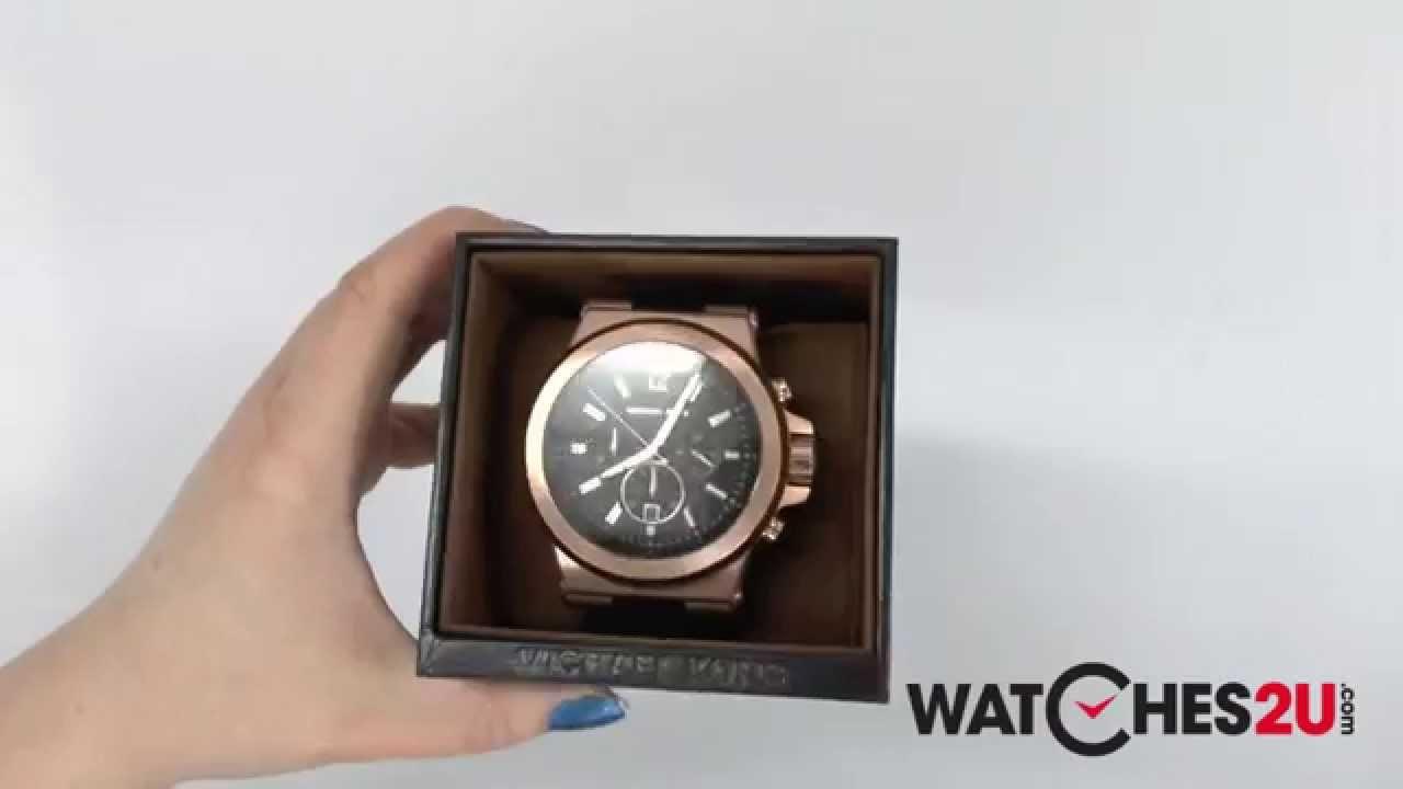 4306d4bed012 MK8184 Michael Kors Mens Jet Set Rose gold and Black Chronograph Watch