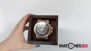 MK8184 Michael Kors Mens Jet Set Rose gold and Black Chronograph Watch