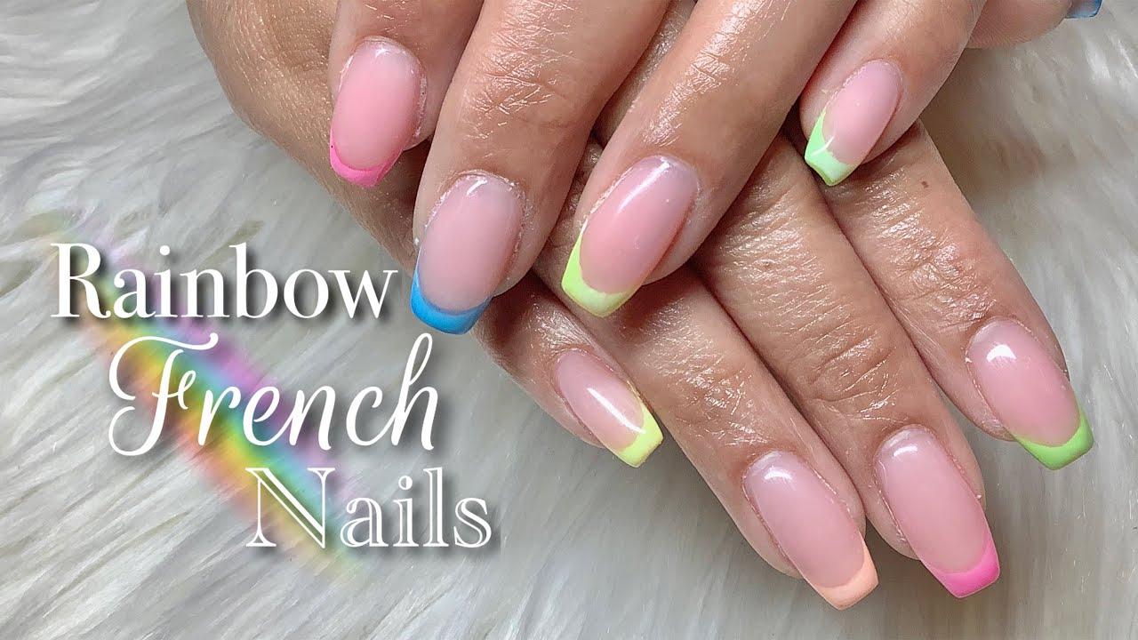 Builder Gel NailsTutorial | Neon Pigment Nails | Rainbow ...