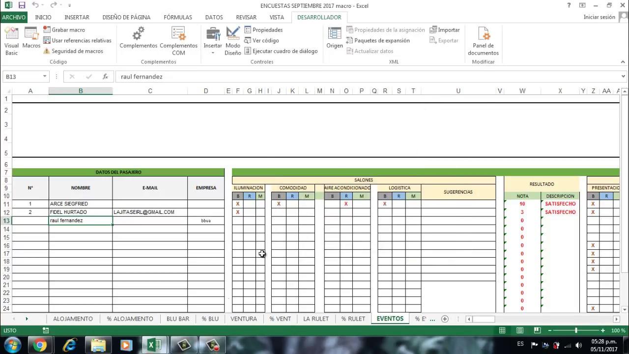 Tabulacion Rapida De Encuestas Formulario Macros En Excel