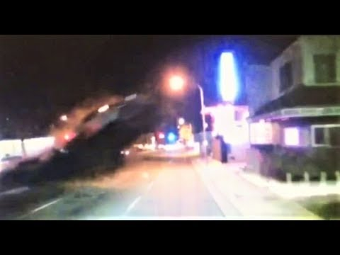 Bus dash-cam captures car flying into 2nd floor dentist office