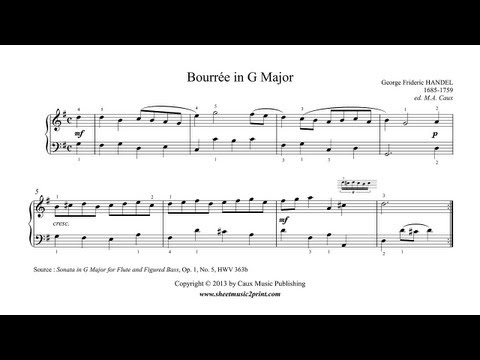 Handel : Bourrée From Sonata In G Major, HWV 363b, Op. 1, No. 5