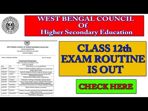 West Bengal Board 12th Routine 2019 | WBCHSE 12th Date Sheet 2019