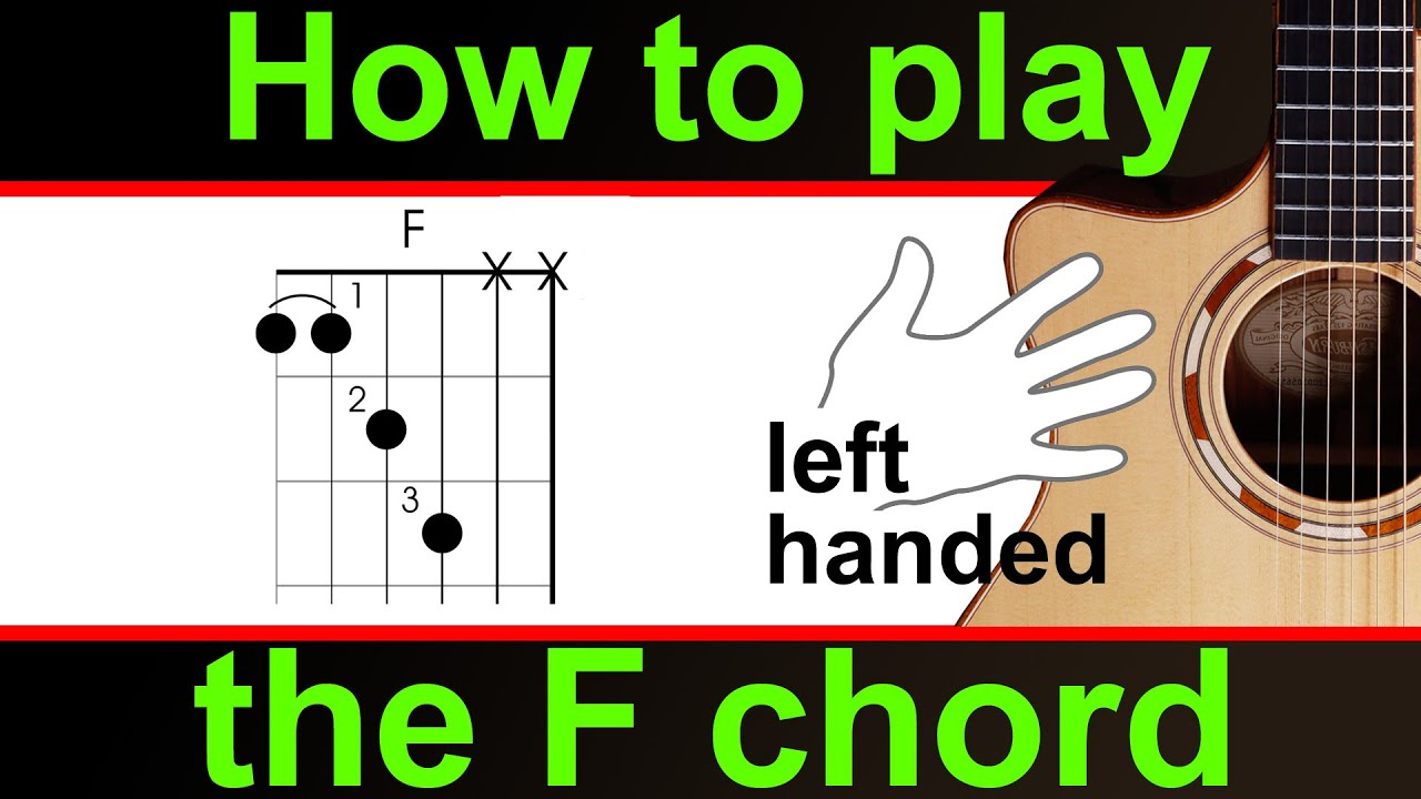 how to play the f chord on guitar left handed f major chord youtube. Black Bedroom Furniture Sets. Home Design Ideas