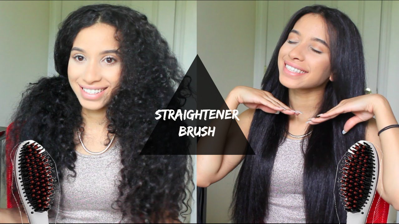 HAIR STRAIGHTENING BRUSH ON NATURAL CURLY THICK HAIR