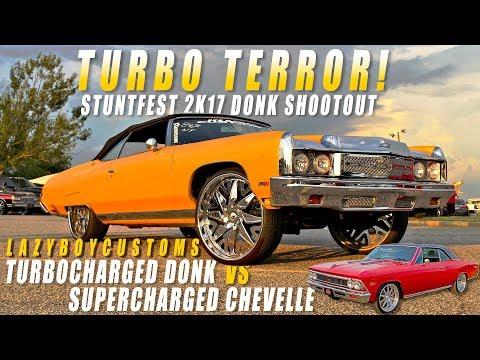 TURBOCHARGED 73 DONK VS SUPERCHARGED 66 CHEVELLE GRUDGE RACE - Stuntfest 2k17 Donk Shootout