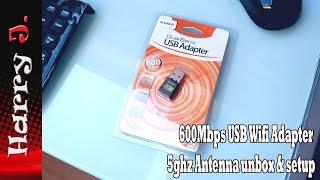 USB Wifi Adapter AC600Mbps 5ghz  unbox & setup