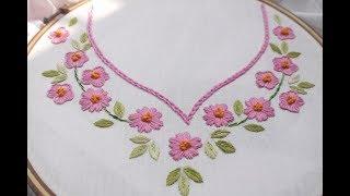 Bordados à mão para design de pescoço para vestidos