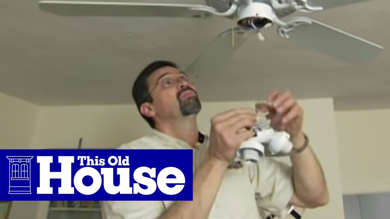 How to Install a Ceiling Fan   This Old House Installing Ceiling Fan Wires on red ceiling fan, led ceiling fan, black ceiling fan, 3 wire fan wiring, white ceiling fan, flush ceiling fan, industrial grade ceiling fan, surface mount ceiling fan, 3 wire computer fan, yellow ceiling fan, 2 blades ceiling fan, impact resistant ceiling fan, ivory ceiling fan, ul listed ceiling fan, brown ceiling fan, 3 wire fan capacitor, 240v ceiling fan, light switch wiring ceiling fan,