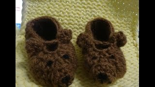 Пинетки мишки крючком Booties bears crochet