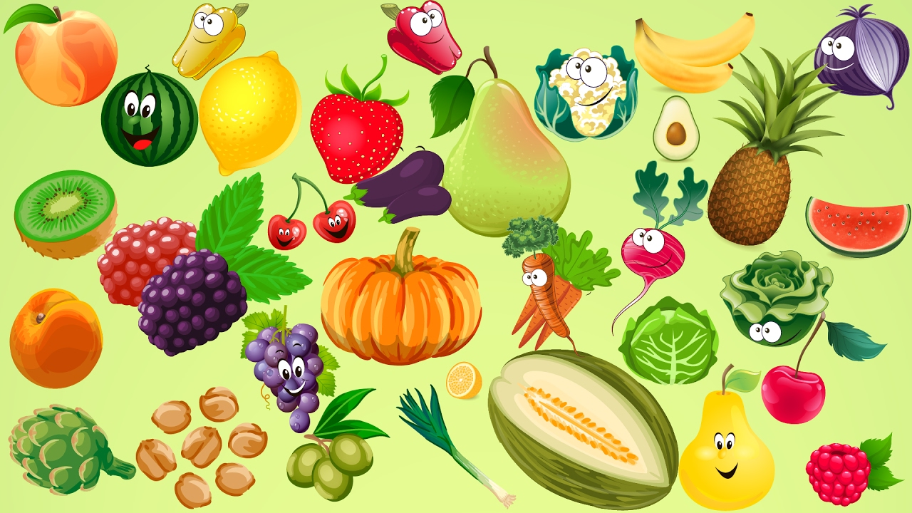 Learn Vegetables Fruit Name With Cartoon Characters For Kids