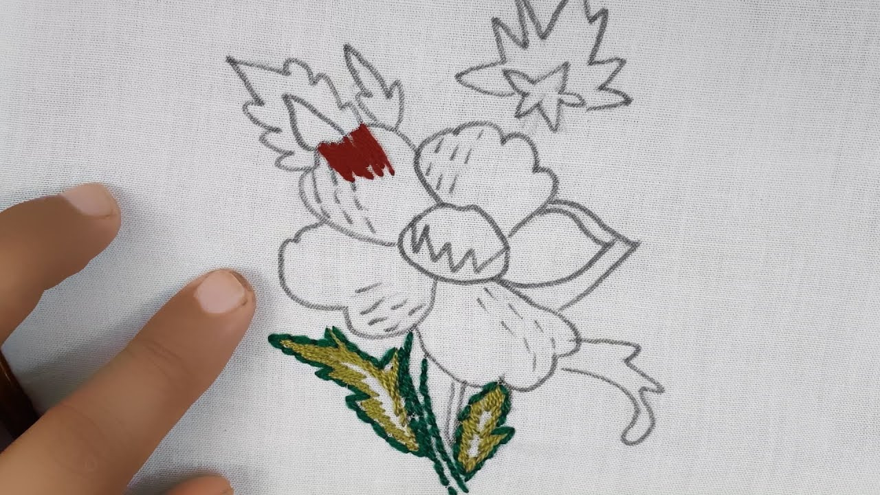Latest fantasy flower embroidery design#modern hand embroidery flower designs@Nakshi Katha