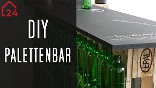 Palettenbar bauen 💥 Bar selber bauen 💥 Paletten + Glasflaschen + Beleuchtung