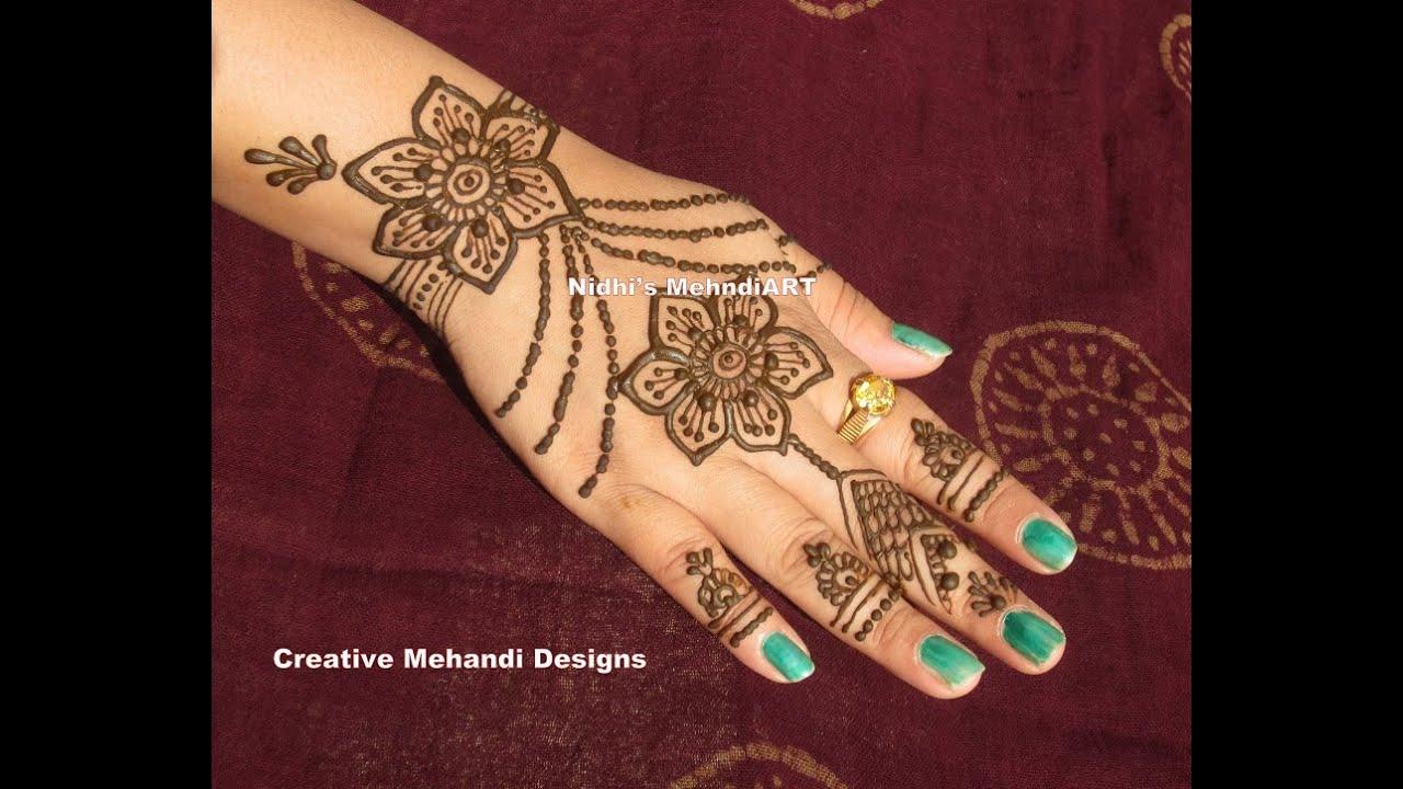 Henna Mehndi S : Beautiful flowery ornamental jewellery henna mehndi design tutorial