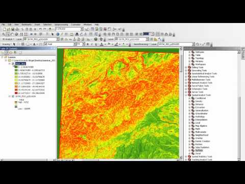 analysis of a digital elevation model in ArcMAP