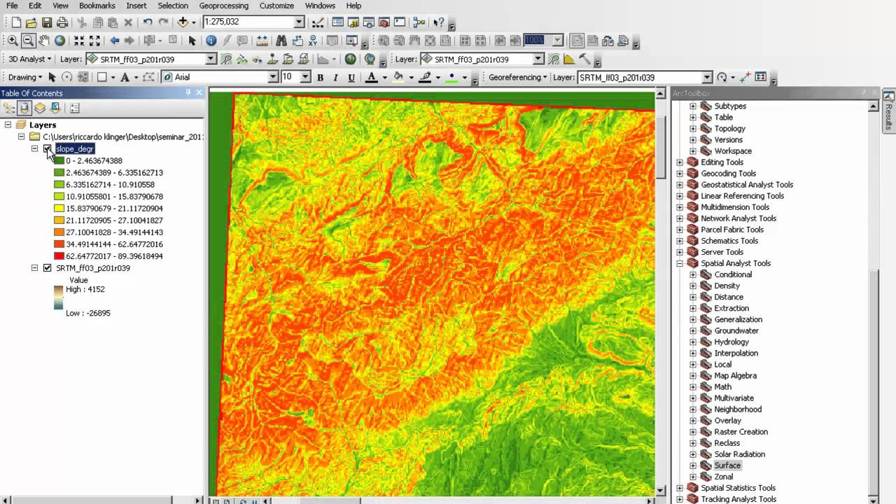 Analysis Of A Digital Elevation Model In Arcmap Youtube
