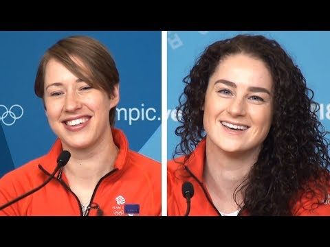 Lizzy Yarnold & Laura Deas Press Conference After Winning Skeleton Gold & Bronze - PyeongChang 2018