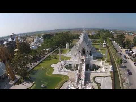 Wat Rong Khun, The White Temple of Chiang Rai, seen from a Drone (Uncut)  HD