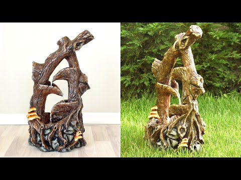 diy-concrete-tree-water-fountain-waterfall-|-cement-faux-bois-&-fake-wood-tutorial-|-cement-craft